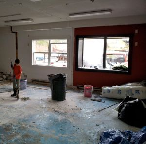 Walls and carpet removed