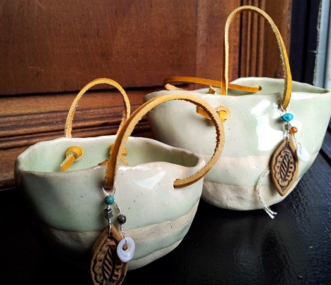 Baskets for bag ladies - in shop window
